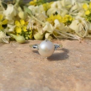 Shop Pearl Rings! Natural Pearl Ring, Round Pearl, Pearl Jewelry, Silver Pearl Ring, Boho Ring, Dainty Ring, Gemstone Ring, Statement Ring, Women Ring, Prong | Natural genuine Pearl rings, simple unique handcrafted gemstone rings. #rings #jewelry #shopping #gift #handmade #fashion #style #affiliate #ad