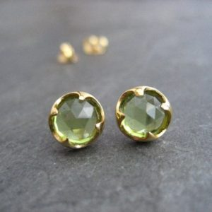 Shop Peridot Jewelry! Peridot Studs, 14 K Gold Studs, Rose Cut Studs, Genuine Gemstones,  Thorn Setting, Green Studs, Aaa Grade Peridot, Handmade | Natural genuine Peridot jewelry. Buy crystal jewelry, handmade handcrafted artisan jewelry for women.  Unique handmade gift ideas. #jewelry #beadedjewelry #beadedjewelry #gift #shopping #handmadejewelry #fashion #style #product #jewelry #affiliate #ad
