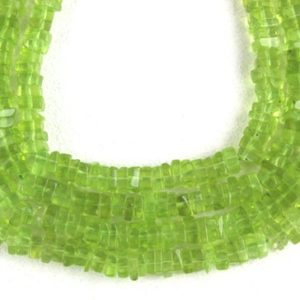 "Good Quality 16"" Long Strand Natural Peridot Heishi beads,Smooth Square Beads, Green  Beads, 3-4 MM Size Gemstone Beads, Wholesale Price 