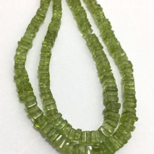 Shop Peridot Bead Shapes! Natural Peridot Disc Square Beads, 4mm to 5.5mm, 10 inches, Green Beads, Gemstone Beads, Semiprecious Stone Beads | Natural genuine other-shape Peridot beads for beading and jewelry making.  #jewelry #beads #beadedjewelry #diyjewelry #jewelrymaking #beadstore #beading #affiliate #ad