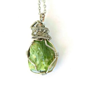 Shop Peridot Pendants! Raw Peridot Necklace – August Birthstone Necklace – Mens Peridot Necklace – Wire Wrapped Pendant- Boyfriend Birthday Gift | Natural genuine Peridot pendants. Buy handcrafted artisan men's jewelry, gifts for men.  Unique handmade mens fashion accessories. #jewelry #beadedpendants #beadedjewelry #shopping #gift #handmadejewelry #pendants #affiliate #ad