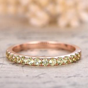 14K Rose Gold Wedding Band Full Eternity Ring Peridot Engagement Ring Stackable Ring Pave Peridot Ring Peridot Wedding Ring | Natural genuine Gemstone rings, simple unique alternative gemstone engagement rings. #rings #jewelry #bridal #wedding #jewelryaccessories #engagementrings #weddingideas #affiliate #ad