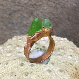 Shop Peridot Rings! Peridot ring, copper electroformed ring, wide ring | Natural genuine Peridot rings, simple unique handcrafted gemstone rings. #rings #jewelry #shopping #gift #handmade #fashion #style #affiliate #ad