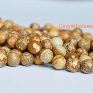 "Shop Picture Jasper Faceted Beads! 15.5"" 6mm Natural picture stone round faceted beads, yellow brown color DIY beads, picture jasper 128 faceted beads, semi precious stone 