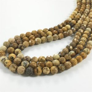 Shop Picture Jasper Faceted Beads! 6mm Matte Picture Jasper Beads, Faceted Jasper Beads, Gemstone Beads | Natural genuine faceted Picture Jasper beads for beading and jewelry making.  #jewelry #beads #beadedjewelry #diyjewelry #jewelrymaking #beadstore #beading #affiliate #ad