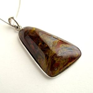 Pietersite Pendant Sterling Silver Pendant With Natural Pietersite Tiger Eye Hawk Eye Pietersite Necklace | Natural genuine Pietersite necklaces. Buy crystal jewelry, handmade handcrafted artisan jewelry for women.  Unique handmade gift ideas. #jewelry #beadednecklaces #beadedjewelry #gift #shopping #handmadejewelry #fashion #style #product #necklaces #affiliate #ad