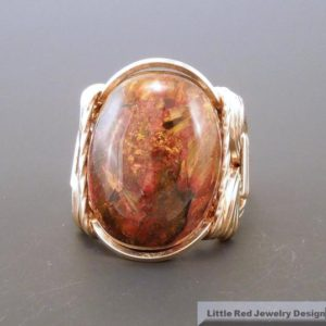 Shop Pietersite Rings! 14 k Gold Filled Pietersite Cabochon Wire Wrapped Ring | Natural genuine Pietersite rings, simple unique handcrafted gemstone rings. #rings #jewelry #shopping #gift #handmade #fashion #style #affiliate #ad