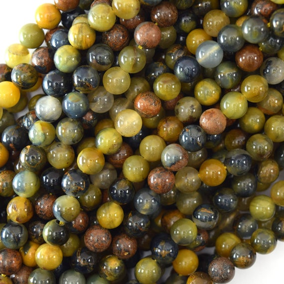 """Natural Gold Brown Blue Pietersite Round Beads 15.5"""" 4mm 6mm 8mm 10mm 12mm"""