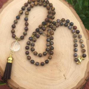Shop Pietersite Necklaces! Pietersite, tiger eye, and garnet long beaded tassel necklace, pietersite necklace, tiger eye tassel necklace, pietersite jewelry | Natural genuine Pietersite necklaces. Buy crystal jewelry, handmade handcrafted artisan jewelry for women.  Unique handmade gift ideas. #jewelry #beadednecklaces #beadedjewelry #gift #shopping #handmadejewelry #fashion #style #product #necklaces #affiliate #ad