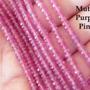 5-50 pcs / PINK SAPPHIRE Rondelles Gemstone Beads / AAA, Purple Pink Gem Beads, 4-4.5 mm / Non Dyed Just Heated, September Birthstone, tr. | Natural genuine beads Pink Sapphire beads for beading and jewelry making.  #jewelry #beads #beadedjewelry #diyjewelry #jewelrymaking #beadstore #beading #affiliate #ad