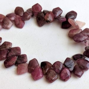 Shop Pink Tourmaline Chip & Nugget Beads! 9-13mm Rare Pink Tourmaline Plain Fancy Shield Beads, Natural Pink Tourmaline Rough Shield Shape Designer For Necklace (4IN To 8IN Options) | Natural genuine chip Pink Tourmaline beads for beading and jewelry making.  #jewelry #beads #beadedjewelry #diyjewelry #jewelrymaking #beadstore #beading #affiliate #ad