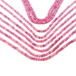"Shop Pink Tourmaline Faceted Beads! Pink tourmaline beads,tourmaline round beads,faceted tourmaline,gemstone beads,semiprecious beads,natural beads,wholesale  – 16"" Full Strand 