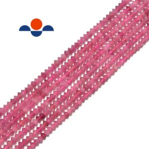 "Shop Pink Tourmaline Faceted Beads! Natural Pink Tourmaline Faceted Rondelle Disc Beads 2x3mm 15.5"" Strand 
