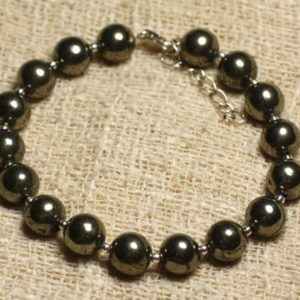 Shop Pyrite Bracelets! Bracelet 925 sterling silver and beads of stone Pyrite 8mm | Natural genuine Pyrite bracelets. Buy crystal jewelry, handmade handcrafted artisan jewelry for women.  Unique handmade gift ideas. #jewelry #beadedbracelets #beadedjewelry #gift #shopping #handmadejewelry #fashion #style #product #bracelets #affiliate #ad