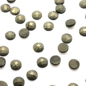 Shop Pyrite Stones & Crystals! Small pyrite faceted cabochons,gray pyrite stone,faceted gemstones,gold pyrite cab,gemstone cabochons,4mm cabochon – AA Quality | Natural genuine stones & crystals in various shapes & sizes. Buy raw cut, tumbled, or polished gemstones for making jewelry or crystal healing energy vibration raising reiki stones. #crystals #gemstones #crystalhealing #crystalsandgemstones #energyhealing #affiliate #ad