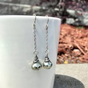 Shop Pyrite Earrings! Dangling Microfaceted Pyrite Drop Earrings OOAK | Natural genuine Pyrite earrings. Buy crystal jewelry, handmade handcrafted artisan jewelry for women.  Unique handmade gift ideas. #jewelry #beadedearrings #beadedjewelry #gift #shopping #handmadejewelry #fashion #style #product #earrings #affiliate #ad
