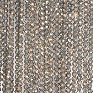 Shop Pyrite Faceted Beads! 2mm Iron Pyrite Gemstone Grade AAA Micro Faceted Fine Round 2mm Loose Beads 15.5 inch Full Strand (80004207-107) | Natural genuine faceted Pyrite beads for beading and jewelry making.  #jewelry #beads #beadedjewelry #diyjewelry #jewelrymaking #beadstore #beading #affiliate #ad