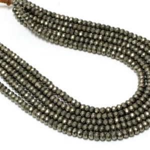 """Shop Pyrite Faceted Beads! GU6089-1 – A Grade Pyrite Faceted Rondelles – 4X6mm – Gemstone Beads – 16"""" Full Strand 