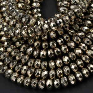 "Shop Pyrite Beads! Faceted Titanium Pyrite Faceted 3mm 4mm 6mm 8mm Rondelle Beads 15.5"" Strand 