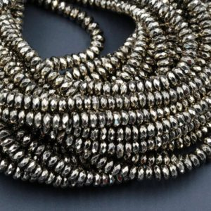 "Shop Pyrite Beads! Titanium Pyrite Faceted 3mm 4mm 6mm 8mm Rondelle Beads 15.5"" Strand 