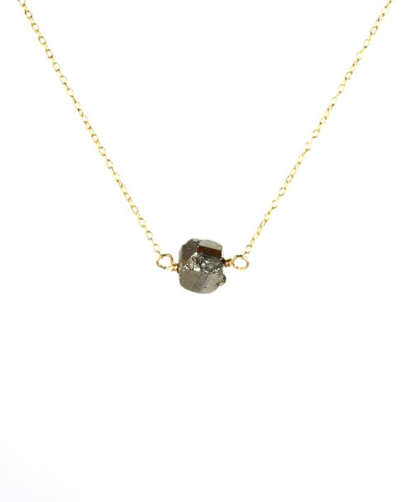 Pyrite Necklace - Rock Necklace - Crystal Necklace - Mineral - Fools Gold - A Raw Pyrite Nugget Wire Wrapped Onto A 14k Gold Filled Chain