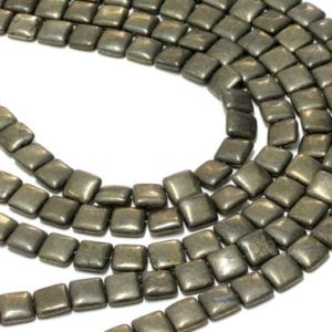 "Shop Pyrite Bead Shapes! GU-6097 – A Grade Pyrite Puffy Squares – 12mm – Gemstone Beads – 16"" Full Strand 