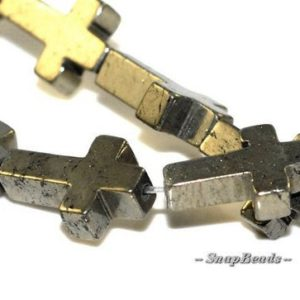 Shop Pyrite Bead Shapes! Palazzo Iron Pyrite Gemstones Cross 15X10MM Loose Beads 16 inch Full Strand (90107074-136) | Natural genuine other-shape Pyrite beads for beading and jewelry making.  #jewelry #beads #beadedjewelry #diyjewelry #jewelrymaking #beadstore #beading #affiliate #ad
