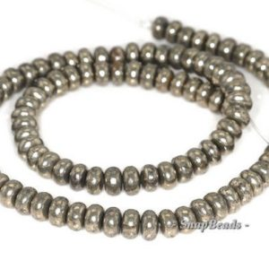 6x4mm Palazzo Iron Pyrite Gemstone Rondelle Donut 6x4mm Loose Beads 7.5 inch Half Strand (90144936-404) | Natural genuine beads Gemstone beads for beading and jewelry making.  #jewelry #beads #beadedjewelry #diyjewelry #jewelrymaking #beadstore #beading #affiliate #ad
