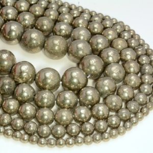Shop Pyrite Round Beads! 10mm Palazzo Iron Pyrite Gemstones Grade AAA Round Loose Beads 15.5 inch Full Strand (90107042-107) | Natural genuine round Pyrite beads for beading and jewelry making.  #jewelry #beads #beadedjewelry #diyjewelry #jewelrymaking #beadstore #beading #affiliate #ad