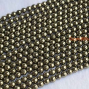 """Shop Pyrite Round Beads! 15.5"""" 4mm/6mm natural Pyrite round beads, High quality grey gold color DIY beads, grey gold color Gemstone and semi precious stone beads 
