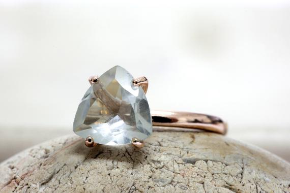 Crystal Quartz Ring,trillion Rose Gold Ring,stone Ring,crystal Ring,clear Ring,bridal Ring,triangle Ring