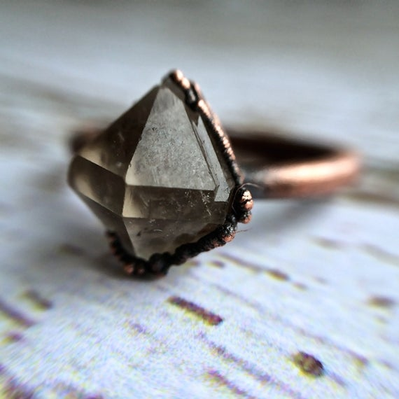 Raw Crystal Ring | Anthraxolite Quartz Diamond Ring | Electroformed Copper Crystal Ring | Crystal Quartz Ring | Rock Quartz Crystal Ring