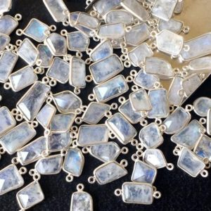 Shop Rainbow Moonstone Beads! 8.5-13mm Rainbow Moonstone Faceted Fancy Shape Connectors, Rainbow Moonstone 925 Silver Connectors Double Loop ( 5Pcs To 10Pcs Options) | Natural genuine beads Rainbow Moonstone beads for beading and jewelry making.  #jewelry #beads #beadedjewelry #diyjewelry #jewelrymaking #beadstore #beading #affiliate #ad