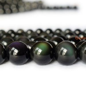 "15.5"" Natural rainbow obsidian 6mm/8mm/10mm round beads, Black obsidian jewelry beads 