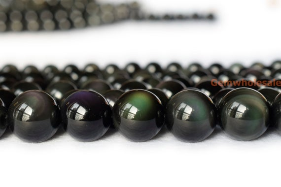 """15.5"""" Natural Rainbow Obsidian 6mm/8mm/10mm Round Beads, Black Obsidian Jewelry Beads"""