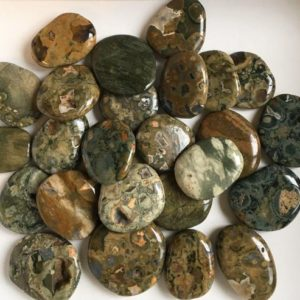 Shop Rainforest Jasper Stones & Crystals! Rhyolite Small Palm Stones, Rain forest Jasper, Healing Stone, Soul Stone, Healing Crystal, Chakra Stone, Spiritual Stone | Natural genuine stones & crystals in various shapes & sizes. Buy raw cut, tumbled, or polished gemstones for making jewelry or crystal healing energy vibration raising reiki stones. #crystals #gemstones #crystalhealing #crystalsandgemstones #energyhealing #affiliate #ad