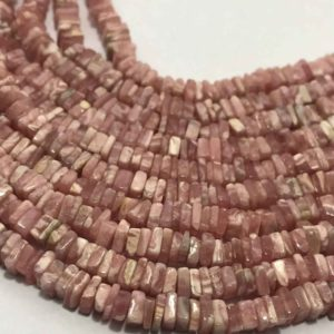 Shop Rhodochrosite Bead Shapes! 4.5 – 5 mm Rhodocrosite Disc Square Gemstone Beads Strand Sale / Rhodocrosite Wholesale Beads / 5 mm Rhodocrosite Bead / Rhodocrosite Square | Natural genuine other-shape Rhodochrosite beads for beading and jewelry making.  #jewelry #beads #beadedjewelry #diyjewelry #jewelrymaking #beadstore #beading #affiliate #ad