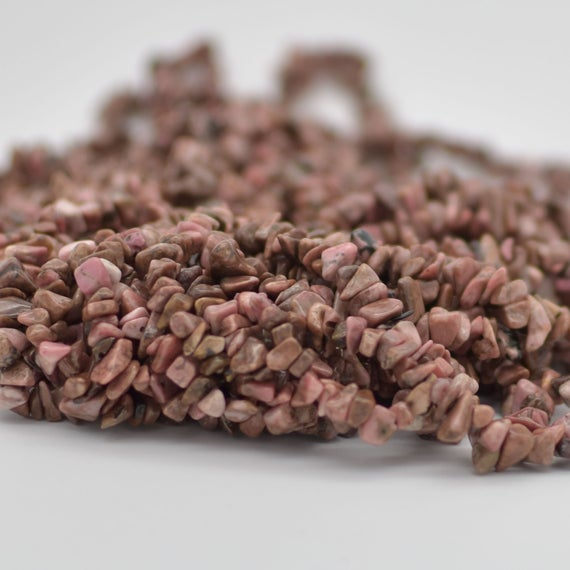 """High Quality Grade A Natural Rhodonite Semi-precious Gemstone Chips Nuggets Beads - 5mm - 8mm, Approx 36"""" Strand"""