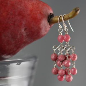 Shop Rhodonite Earrings! Chandelier Earrings, Sterling Silver, Rhodonite Earrings, Pink Chandelier Earrings, Gemstone Chandelier, Chandelier Earrings, Yoga Jewelry | Natural genuine Rhodonite earrings. Buy crystal jewelry, handmade handcrafted artisan jewelry for women.  Unique handmade gift ideas. #jewelry #beadedearrings #beadedjewelry #gift #shopping #handmadejewelry #fashion #style #product #earrings #affiliate #ad