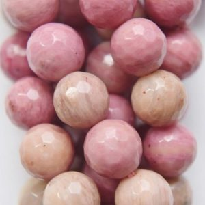"""Shop Rhodonite Faceted Beads! Genuine Faceted Rhodonite Beads – Round 8 mm Gemstone Beads – Full Strand 15 1/2"""", 46 beads, A Quality 