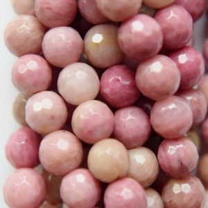 """Genuine Faceted Rhodonite Beads – Round 6 mm Gemstone Beads – Full Strand 15 1/2"""", 59 beads, A Quality 