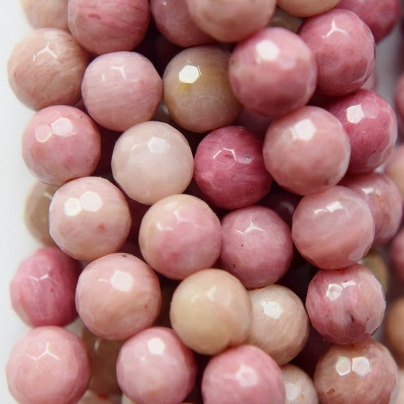 """Genuine Faceted Rhodonite Beads - Round 6 Mm Gemstone Beads - Full Strand 15 1/2"""", 59 Beads, A Quality"""