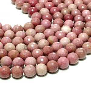 """Shop Rhodonite Faceted Beads! Large Rhodonite beads,faceted beads,gemstone beads,natural semiprecious beads,loose beads,diy beads,craft supplies – 16"""" Strand 