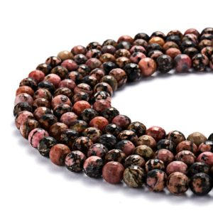 """Shop Rhodonite Faceted Beads! Rhodonite Faceted Round Beads 6mm 8mm 10mm 12mm 15.5"""" Strand 