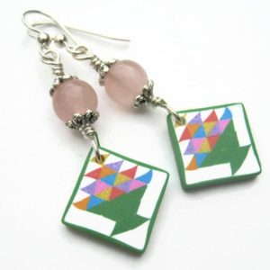 Shop Rose Quartz Earrings! Basket Quilt Block Earrings, Sterling Silver, Rose Quartz Quilters Jewelry, Limited Edition Polymer Clay, Spring Garden, Quilting Gift   Natural genuine Rose Quartz earrings. Buy crystal jewelry, handmade handcrafted artisan jewelry for women.  Unique handmade gift ideas. #jewelry #beadedearrings #beadedjewelry #gift #shopping #handmadejewelry #fashion #style #product #earrings #affiliate #ad