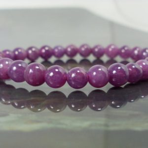 Natural Myanmar Ruby Bracelet 5mm for Women or Men, Natural Gemstone Bracelet, January July December Birthstone, Gift for Her Him +Gift Box | Natural genuine Array bracelets. Buy crystal jewelry, handmade handcrafted artisan jewelry for women.  Unique handmade gift ideas. #jewelry #beadedbracelets #beadedjewelry #gift #shopping #handmadejewelry #fashion #style #product #bracelets #affiliate #ad