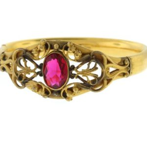 Victorian Gold Filled Bangle, Antique Ruby Paste Bracelet, Gold Filled Hinged Bangle, W&sb | Natural genuine Array bracelets. Buy crystal jewelry, handmade handcrafted artisan jewelry for women.  Unique handmade gift ideas. #jewelry #beadedbracelets #beadedjewelry #gift #shopping #handmadejewelry #fashion #style #product #bracelets #affiliate #ad