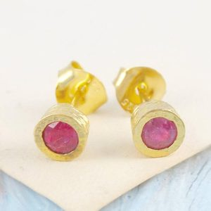 Shop Ruby Earrings! Gold Stud Earring, Ruby Stud Earrings, Ruby Studs, Round Studs, Gold Earring, Gold Round Studs, Gold Studs, Ruby Earrings, Gold Ruby Earring | Natural genuine Ruby earrings. Buy crystal jewelry, handmade handcrafted artisan jewelry for women.  Unique handmade gift ideas. #jewelry #beadedearrings #beadedjewelry #gift #shopping #handmadejewelry #fashion #style #product #earrings #affiliate #ad