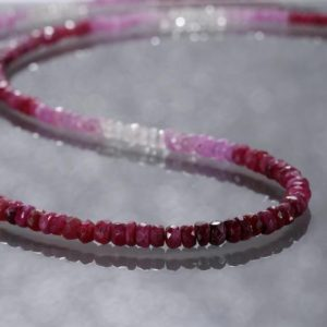 Shop Ruby Necklaces! Ruby Necklace Ombre Ruby Gemstone Valentine Gift For Girlfriend Wedding Gift Bridesmaid gift AA Genuine Ruby July Birthstone | Natural genuine Ruby necklaces. Buy handcrafted artisan wedding jewelry.  Unique handmade bridal jewelry gift ideas. #jewelry #beadednecklaces #gift #crystaljewelry #shopping #handmadejewelry #wedding #bridal #necklaces #affiliate #ad