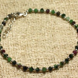 Shop Ruby Zoisite Bracelets! Ruby Zoisite Faceted 3x2mm Beads And 925 Sterling Silver Bracelet | Natural genuine Ruby Zoisite bracelets. Buy crystal jewelry, handmade handcrafted artisan jewelry for women.  Unique handmade gift ideas. #jewelry #beadedbracelets #beadedjewelry #gift #shopping #handmadejewelry #fashion #style #product #bracelets #affiliate #ad